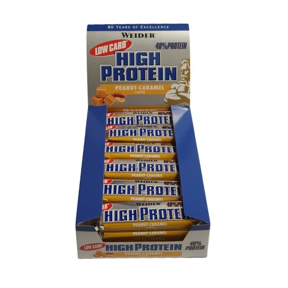 Weider Low Carb High Protein Bar 24 x 50 g, peanut caramel